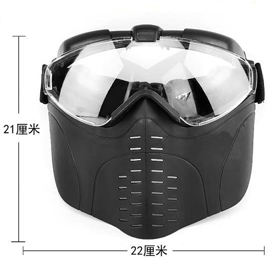 Tactical plastic full face mask with goggles 008