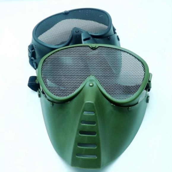 Tactical full face mask with metal goggles 012